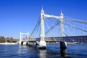 Albert Bridge and River Thames, Chelsea, London, England, United Kingdom, Europe