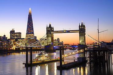 The Shard and Tower Bridge on the River Thames at night, London, England, United Kingdom, Europe