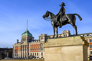 Old Admiralty Building at Whitehall with statue, Westminster, London, England, United Kingdom, Europe
