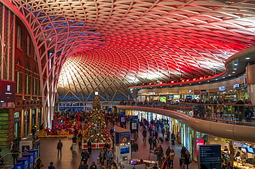 Christmas decorations at King's Cross Station, London, England, United Kingdom, Europe
