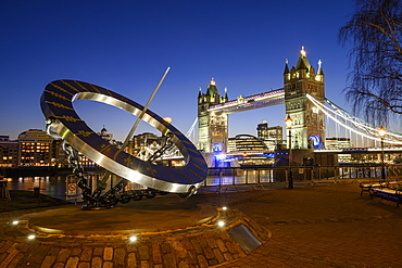 The Timepiece Sundial and Tower Bridge at sunset, St. Katharine's and Wapping, London, England, United Kingdom, Europe