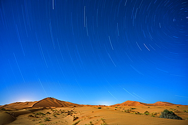 Star trails in the Sahara Desert, Morocco, North Africa, Africa