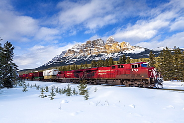Canadian locomotive passing Castle Mountain in winter, near Banff, Alberta, Canadian Rockies, Canada, North America