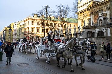 Horse drawn carriage, Krakow, Poland, Europe