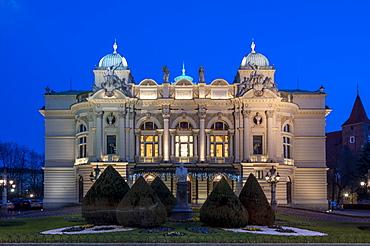 Juliusz Slowacki Theater opera house at night, UNESCO World Heritage Site, Krakow, Poland, Europe