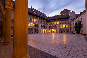 Wawel Castle, the arcaded Renaissance courtyard at the centre of Wawel Castle, UNESCO World Heritage Site, in Krakow, Poland, Europe