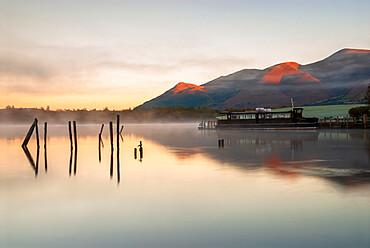 Morning mist on Derwentwater, Lake District National Park, UNESCO World Heritage Site, Cumbria, England, United Kingdom, Europe