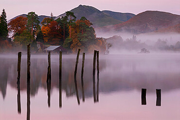 Autumn mist on Derwentwater, Lake District National Park, UNESCO World Heritage Site, Cumbria, England, United Kingdom, Europe