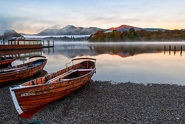 Rowing boats moored at Derwentwater, Derwentwater, Lake District National Park, UNESCO World Heritage Site, Cumbria, England, United Kingdom, Europe - 1306-677