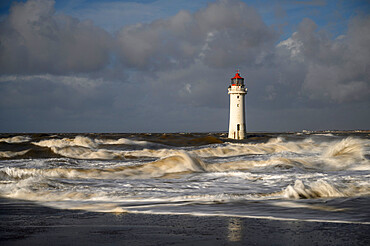New Brighton lighthouse during stormy conditions, The Wirral, Cheshire, England, United Kingdom, Europe
