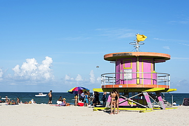 Lifeguard station on South Beach, Miami Beach, Florida, United States of America, North America