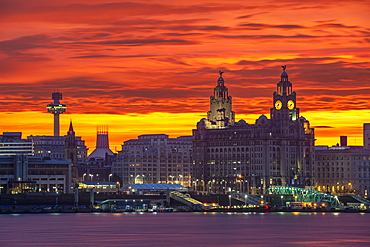 Liverpool Waterfront at sunrise with amazing sky, Liverpool, Merseyside, England, United Kingdom, Europe