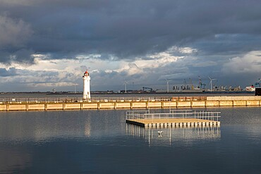 Perch Rock Lighthouse and Marine Lake, New Brighton, Cheshire, England, United Kingdom, Europe