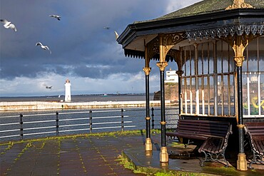 Perch Rock Lighthouse and the Marine Lake, New Brighton, Cheshire, England, United Kingdom, Europe
