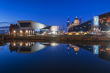 Reflected view of The Museum of Liverpool, Liverpool, Merseyside, England, United Kingdom, Europe