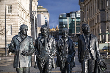 The Beatles statue sculpture at Pier Head on Liverpool Waterfront, Liverpool, Merseyside, England, United Kingdom, Europe