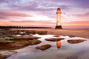 Perch Rock Lighthouse at sunrise, New Brighton, Cheshire, England, United Kingdom, Europe