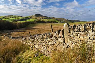 Old stone wall with the Peak of Shutlingsloe, near Wildboarclough, Peak District National Park, Cheshire, England, United Kingdom, Europe