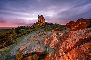 The Folly at Mow Cop illuminated by amazing sunset, Mow Cop, Cheshire, England, United Kingdom, Europe