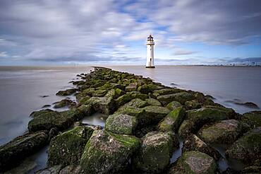 The Perch Rock Lighthouse with a long exposure, New Brighton, Cheshire, England, United Kingdom, Europe
