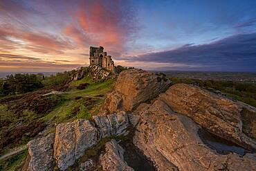 The Folly at Mow Cop with incredible sunset, Mow Cop, Cheshire, England, United Kingdom, Europe