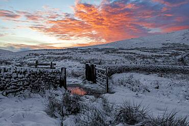 Winter view of snow covered Wildboarclough with amazing sunrise, Wildboarclough, Cheshire