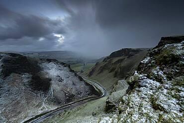 Snow storm at Winnat's Pass, Peak District, Derbyshire, England, United Kingdom, Europe
