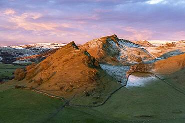 Grazing sheep on Parkhouse Hill in winter, Peak District, Derbyshire, England, United Kingdom, Europe