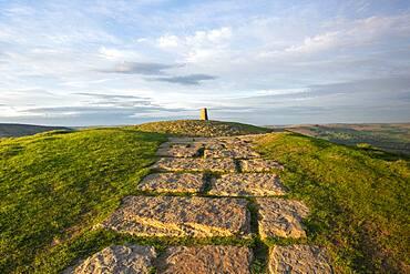 Stone path leading towards the summit at Mam Tor, High Peak, Derbyshire, England, United Kingdom, Europe