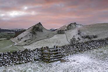 The view of Chrome Hill and Parkhouse Hill with dusting of snow, Peak District, Derbyshire, England, United Kingdom, Europe