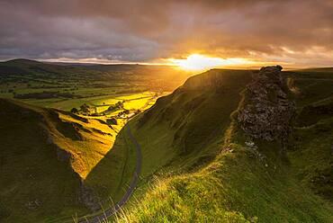 Winnat's Pass bathed in morning sun, Edale, Peak District, Derbyshire, England, United Kingdom, Europe