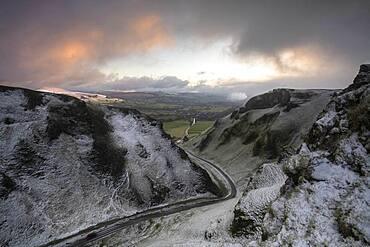 Winter scene of Winnat's Pass, Peak District, Derbyshire, England, United Kingdom, Europe