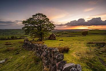Roach End at sunset, The Roaches, Peak District, Staffordshire, England, United Kingdom, Europe