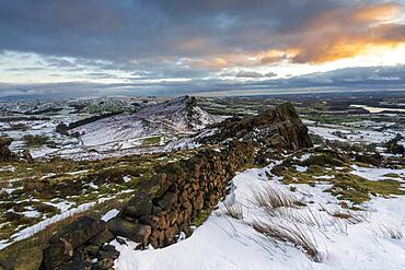 Winter view of Hen Cloud with snow, The Roaches, Peak District, Staffordshire, England, United Kingdom, Europe