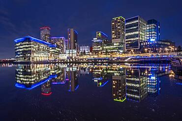 MediaCity UK at night, Salford Quays, Manchester, England, United Kingdom, Europe