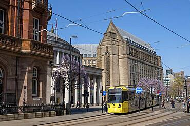 The Manchester Library and St. Peter's Square, Manchester, England, United Kingdom, Europe