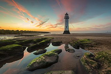 Perch Rock Lighthouse at sunset, New Brighton, Cheshire, England, United Kingdom, Europe