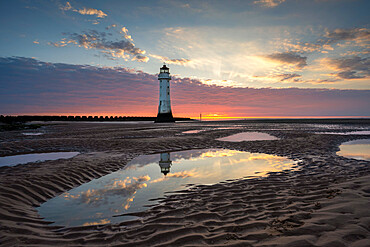 Perch Rock Lighthouse at sunset, New Brighton, Cheshire