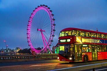 London Bus on Westminster Bridge with Millennium Wheel (London Eye), London
