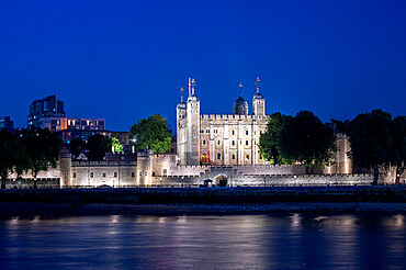 The Tower of London at night with River Thames, London