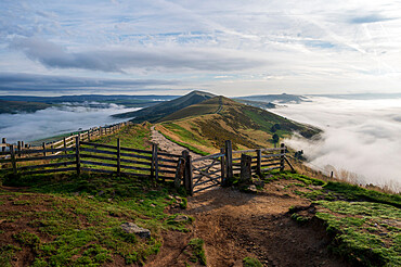 Gate entrance to The Great Ridge and Losehill with cloud inversion, Edale, The Peak District, Derbyshire