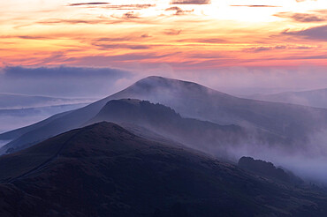 Losehill and The Great Ridge at sunrise shrouded with cloud inversion, Derbyshire