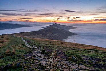 The Great Ridge with a cloud inversion in both Hope and Edale valleys, Derbyshire