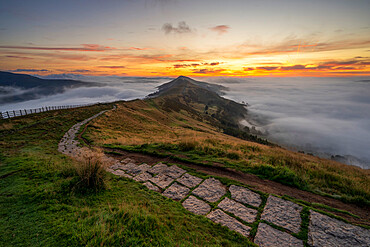The path from Mam Tor leading towards The Great Ridge and Losehill, Derbyshire