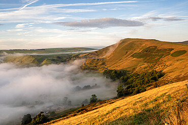 View of Mam Tor looking from The Great Ridge with rolling mist, Derbyshire