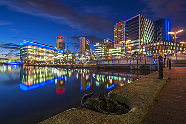MediaCityUK at night in Salford Quays, Manchester, England, United Kingdom, Europe