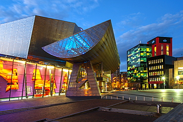 The Lowry at night in Salford Quays, Manchester, England, United Kingdom, Europe
