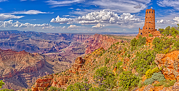 View of Grand Canyon west of the historic Watch Tower, managed by the National Park Service, UNESCO World Heritage Site, Arizona, United States of America, North America