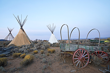 Teepees (tipis) on display at dusk in Taos, New Mexico, United States of America, North America