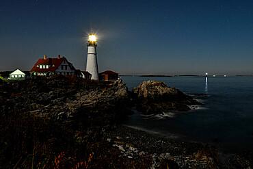 Portland Head Light at night, Cape Elizabeth, Maine, New England, United States of America, North America